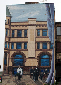 The Asaph Whittlesey mural painted by Kelly Meredith and Sue Martinsen was Ashland's first of twelve mural projects.