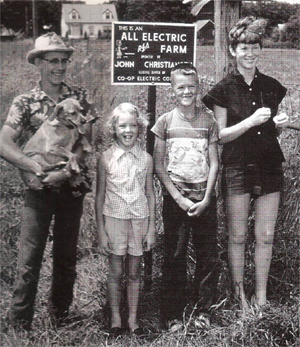 1950s Iowa farm kids, part of the first generation of rural Americans born on farms with electrical power.  Photo: Author.