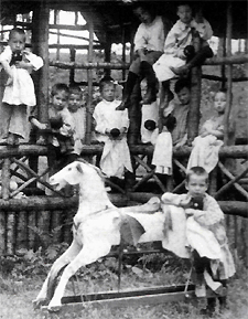 """Inmates"" at the Wisconsin Home for the Feeble Minded, 1900s. Photo: Northern Wisconsin Center."