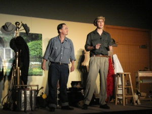 "Actors Patrick and Samuel Porter in ""Camp We-Kan-Tak-It"" at the Boerner Botanical Garderns. Photo by Debbie Kmetz."