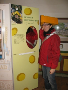 Jessica Becker in a cheesehead hat