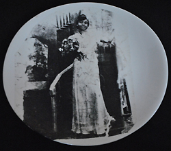 "Evelyn Patricia Terry, ""Jessie Mae Terry,"" reproduced on a plate, from the installation, ""I Mind, Eye mind, I Mind,"" John Michael Kohler Art Center, 1994. Photo by Vernessa Richardson."