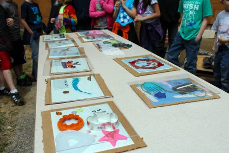 School kids working on cyanotype creations