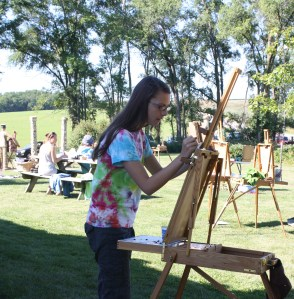 Artists in the yard at Grandview, 2013