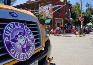 Purple Cow Bus at Riverwest Coop. Photo © by Lee Matz.